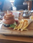 Burger, onion rings and truffle chips at the Opera House Bar
